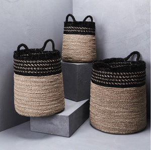 Black and Natural basket with handles