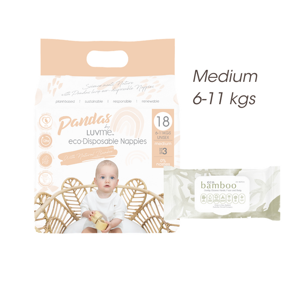FREE TRIAL Medium 6-11 kgs (size 3) ECO PACK // Nappies Wipes - LittleShoppers