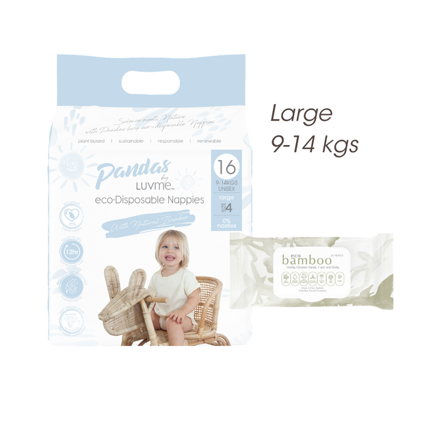 FREE TRIAL Large 9-14 kgs (size 4) ECO PACK // Nappies Wipes - LittleShoppers