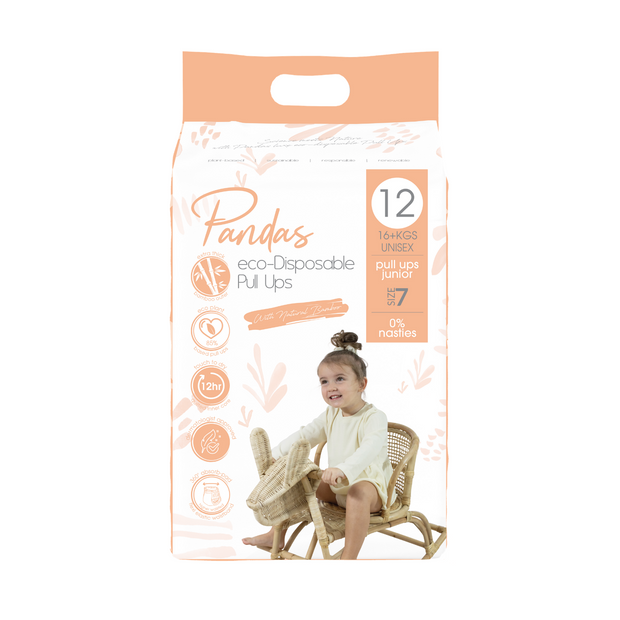 Pandas by Luvme ECO Disposable BAMBOO Pull Ups Size 7 16+kg - LittleShoppers