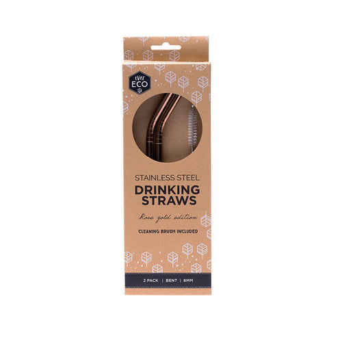 Ever ECO Rose Gold Straws Bent 2 PACK