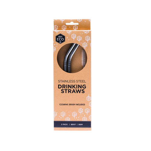 Ever ECO Stainless Steel Straws Bent 2 PACK - LittleShoppers