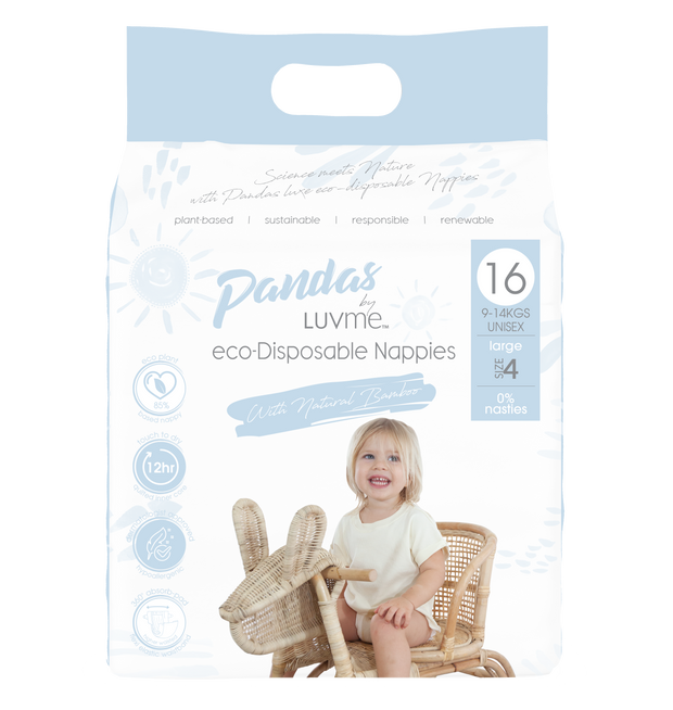 Pandas by Luvme ECO Disposable BAMBOO Nappies LARGE 9-14kg - LittleShoppers