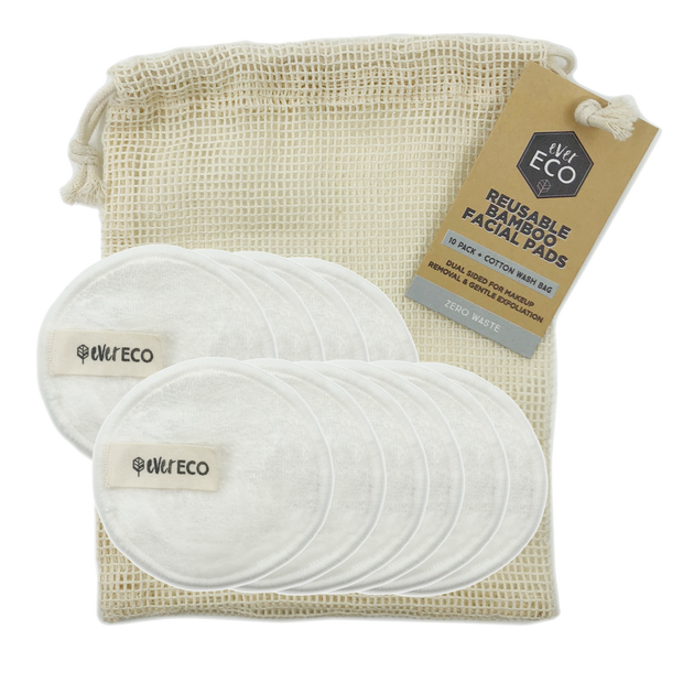 EVER ECO Reusable Bamboo Facial Pads White With Cotton Wash Bag 10 - LittleShoppers