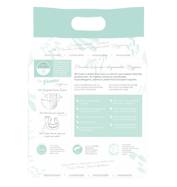 Pandas by Luvme ECO Disposable BAMBOO Nappies XLARGE 12-18kg - LittleShoppers