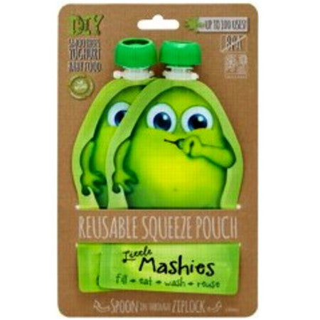 Little Mashies Reusable Squeeze Pouch Green 2 Pk - LittleShoppers