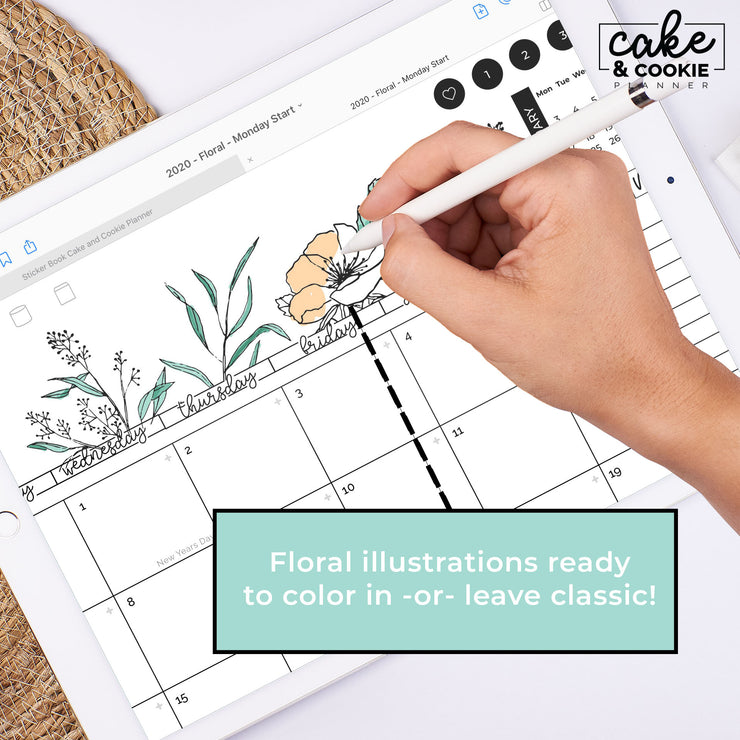 2021 Digital Planner for iPad and Tablets - Floral Edition