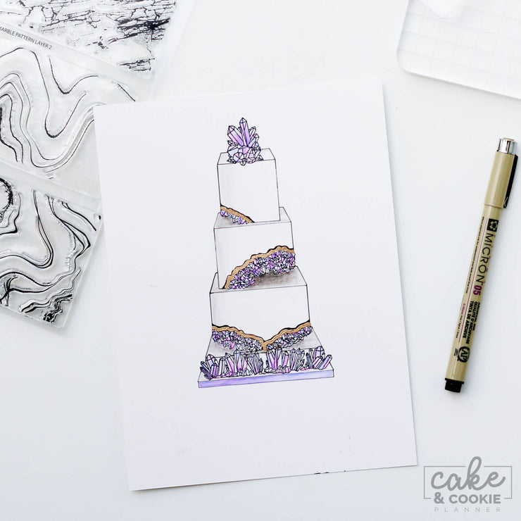 Cake Sketching Stamps - Geode, Minerals and Marble Set