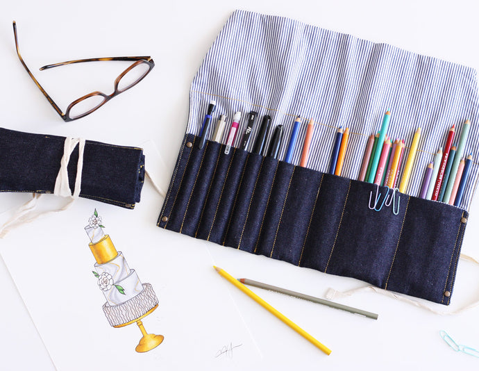 Denim Roll Up Pencil/Tool Pouch