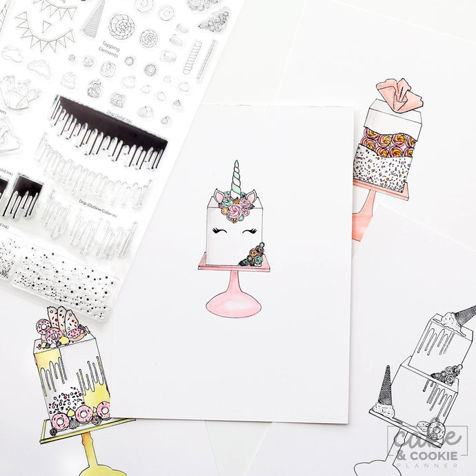 Cake Sketching Stamps - Celebration Set