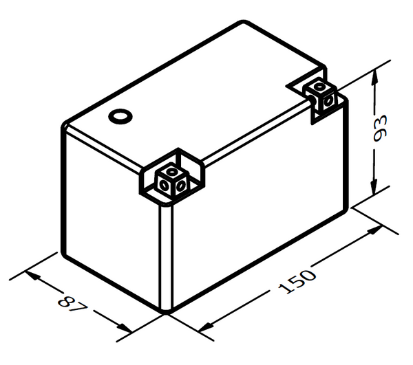 MEGALiFe MB-7A-S Battery Dimensions