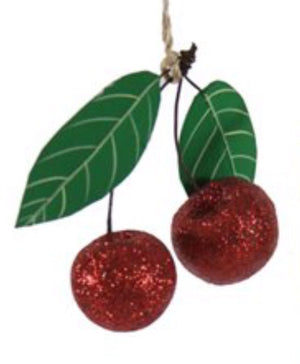 Glitter Cherries Ornament
