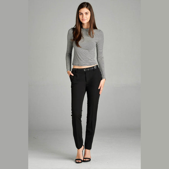 Classic Black Skinny Dress Pant with Belt