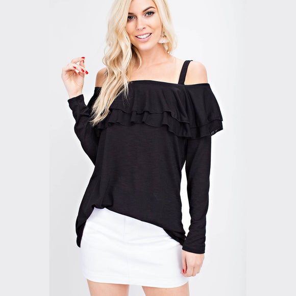 Black Ruffle Off Shoulder Top