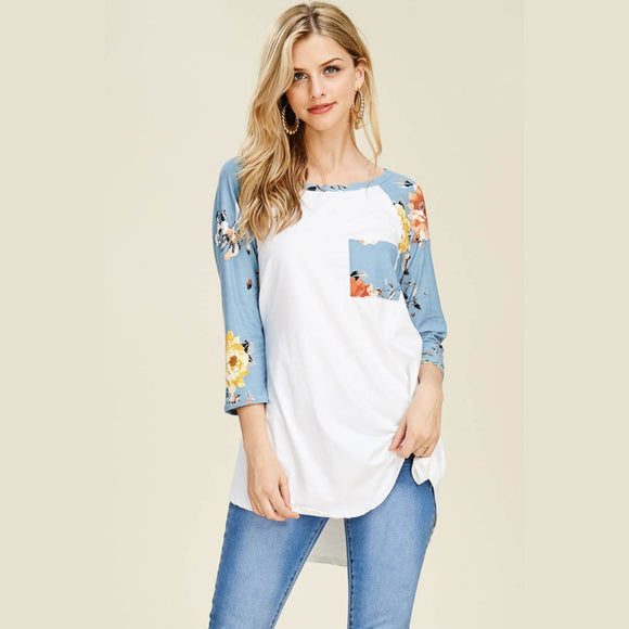Blue Floral Raglan Sleeve Top
