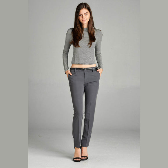 Classic Gray Skinny Dress Pant with Belt