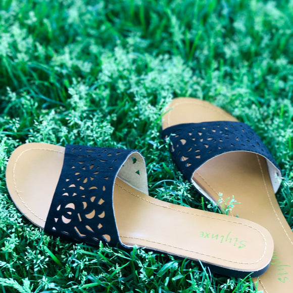 Black Cutout Sandal
