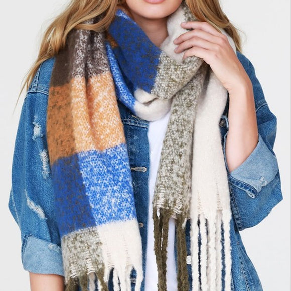 Blue, Brown, Orange - Fuzzy Soft Scarf
