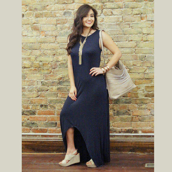 Navy High Low Maxi with Criss Cross Back