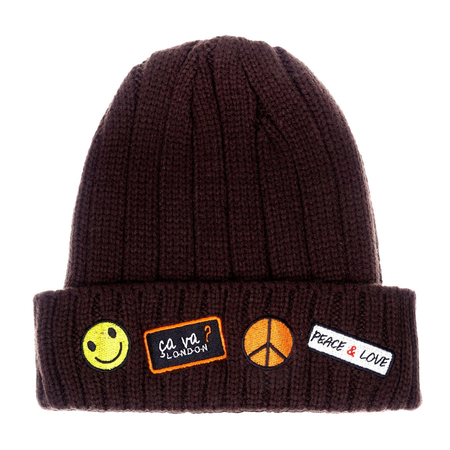 Embroidered Patchwork Beanie