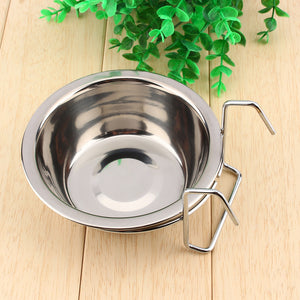 Stainless Steel Food or Water Bowl with crate hanger