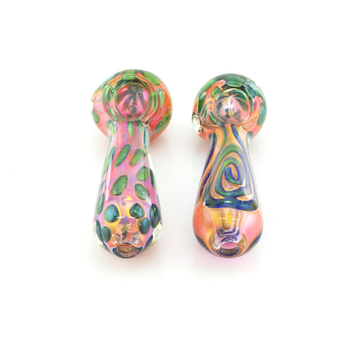 "4.5"" Gold Fumed Polka Dot & Swirl Art Hand Pipe - SmokeZone 420"