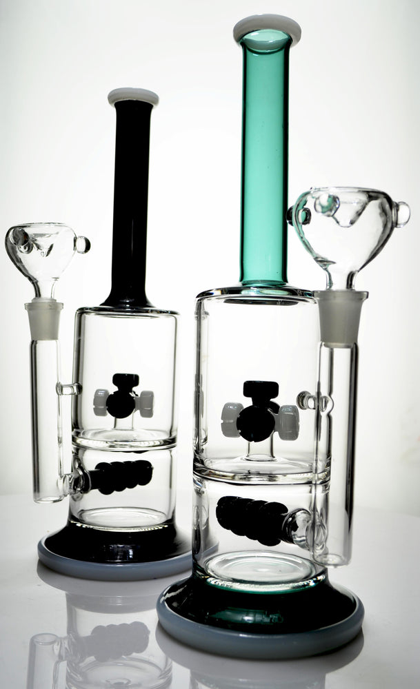 "11"" Wheel & Drill Perc Double Chamber Water Pipe - SmokeZone 420"