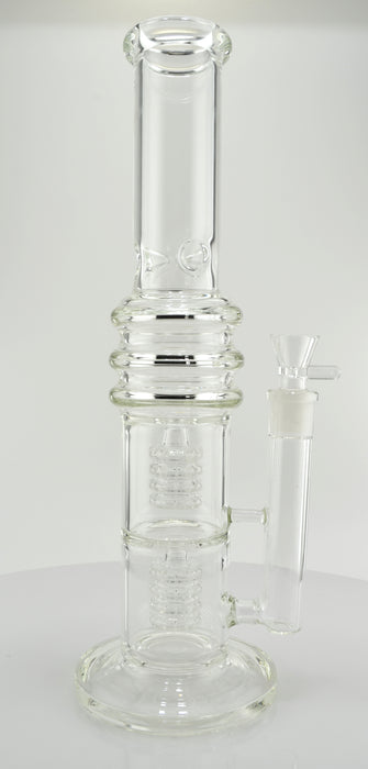 "15"" Clear Double Quad Shower Chamber Water Pipe - SmokeZone 420"