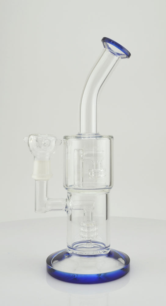 "11"" Double Shower Perc Stemless Blue Water Pipe - SmokeZone 420"