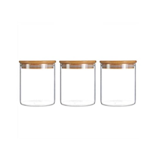 Bamboo Lid Air Tight Glass Jars - SmokeZone 420