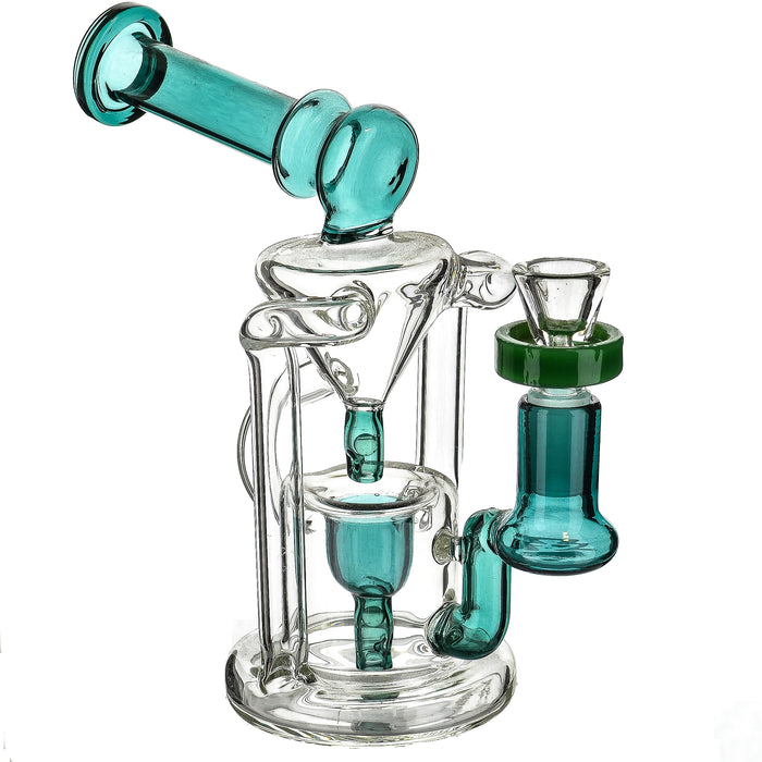 "7"" Terp Pearl Drip Recycler Teal Dab Rig - SmokeZone 420"