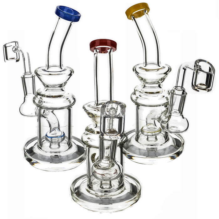 "7"" Clear Bent Color Mouth Shower Perc Dab Rig - SmokeZone 420"