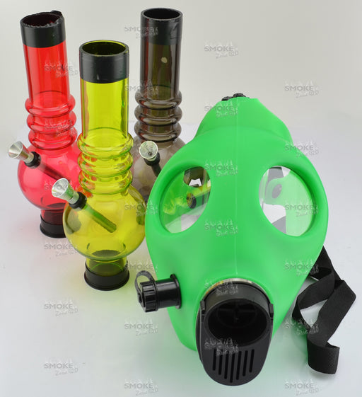 Green Color Gas Mask With Acrylic Tube - SmokeZone 420