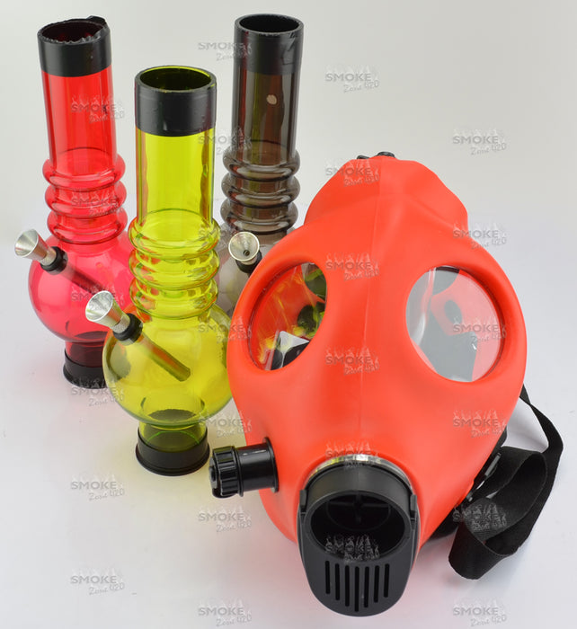 Solid RED Color Gas Mask w/ Acrylic Tube (tube color varies) - SmokeZone 420