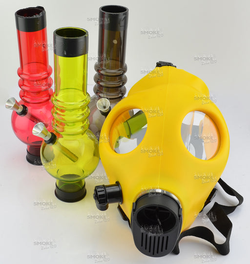Solid YELLOW Color Gas Mask w/ Acrylic Tube (tube color varies) - SmokeZone 420