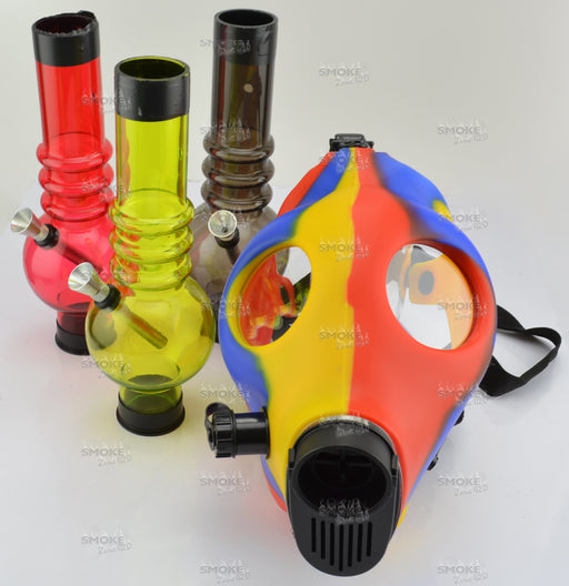 Blue, Red & Yellow Gas Mask With Acrylic Tube - SmokeZone 420