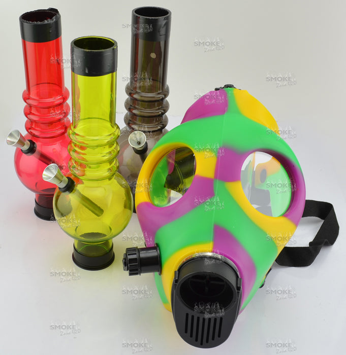 Green, Purple & Yellow Gas Mask With Acrylic Tube - SmokeZone 420