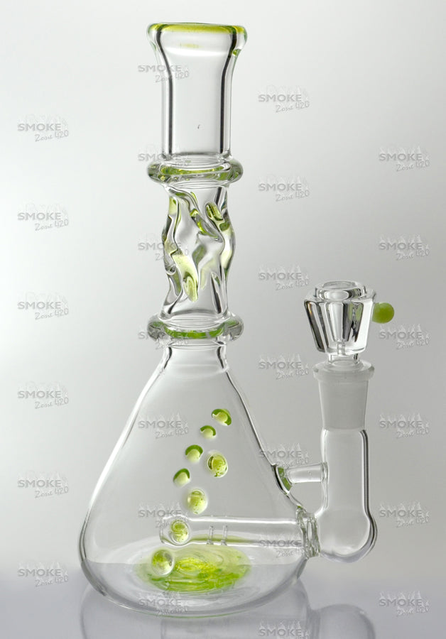 "8"" Inline Twisted Beaker Base Slime Green Water Pipe - SmokeZone 420"