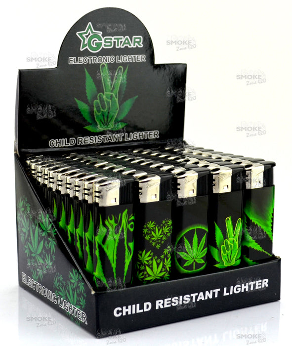 GSTAR Black & Green Leaf Refillable Lighters - SmokeZone 420