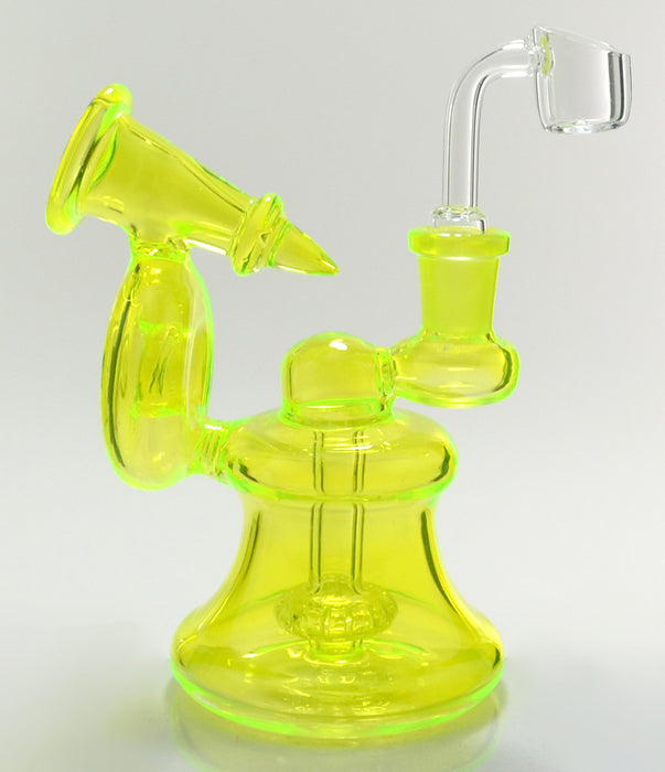 "6"" Horn Style UV Reactive Dab Rig - SmokeZone 420"