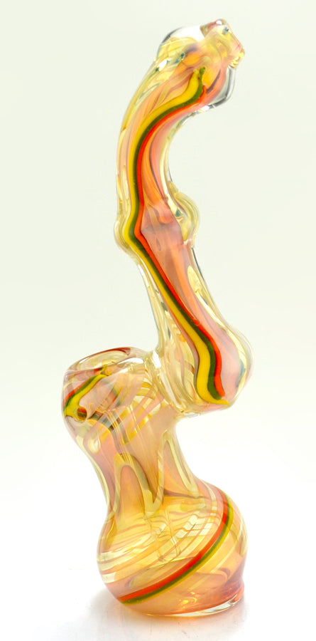 9 Inch Gold Fumed With Rasta Stripes Bubbler - SmokeZone 420