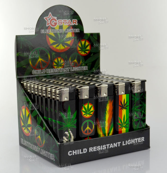 GSTAR Hologram Rasta Leaf Refillable Lighters - SmokeZone 420