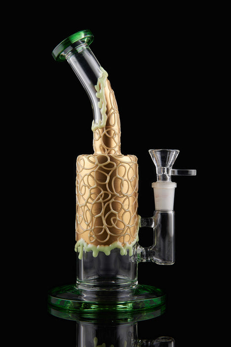 "9"" Curved Mouth Honeycomb Glow In The Dark Dab Rig - SmokeZone 420"