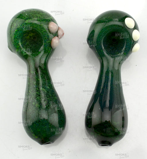 "4"" Forest Green Frit Hand Pipe - SmokeZone 420"