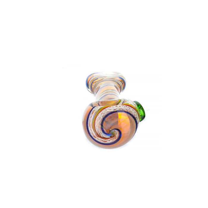 "5"" Flat Mouth Inside Swirl Art Fumed Hand Pipe - SmokeZone 420"