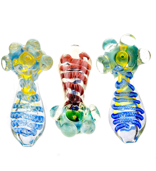 "4"" Triple Bead Inside Work Hand Pipe - SmokeZone 420"