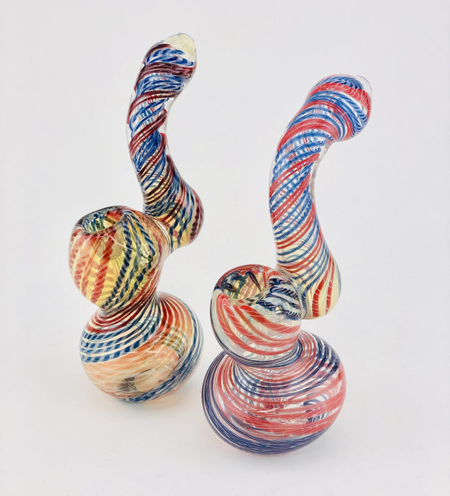 "7"" Twisted Color Wrap Sherlock Bubbler - SmokeZone 420"