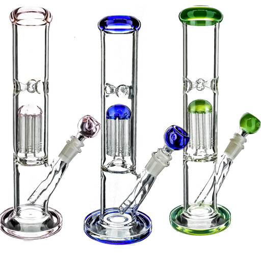 "12"" Straight Tube Tree Perc Water Pipe (ONLY GREEN & PINK COLOR AVAILABLE) - SmokeZone 420"