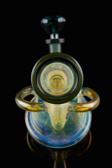 "8"" Heavy Gold Fumed Space Recycler Inline Dab Rig - SmokeZone 420"