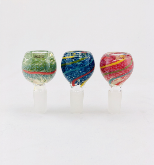 14mm Swirl Striped Frit Bowls - SmokeZone 420